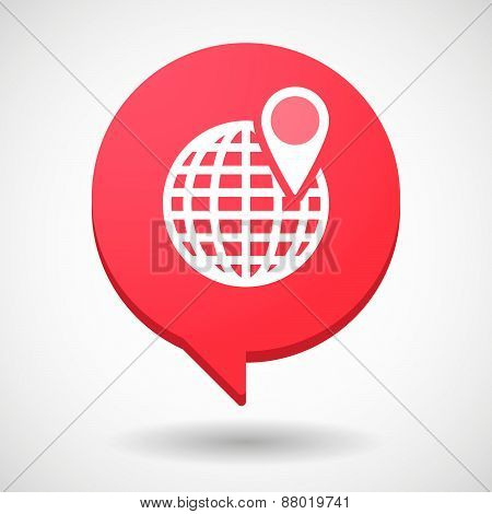 Comic Balloon Icon With A World Globe