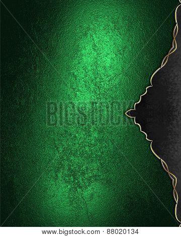 Element For Design. Template For Design. Grunge Green Background With Black Decoration
