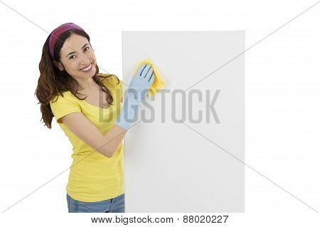 Spring Cleaning Woman Wiping A Blank Advertising Board