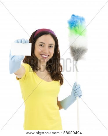 Cleaning Woman Showing A Sign Card And Holding A Duster In Her Hand