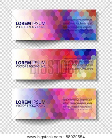 Vector colorful progress banners collection
