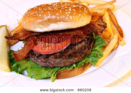 Hamburger With Pickle On Side