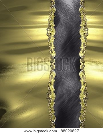 Element For Design. Template For Design. Gold Texture With Antique Black Band