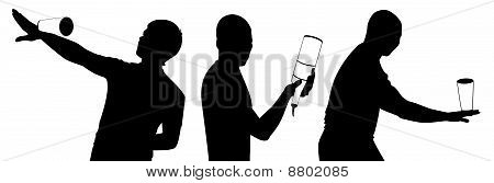 black silhouette of barman showing tricks with a bottle