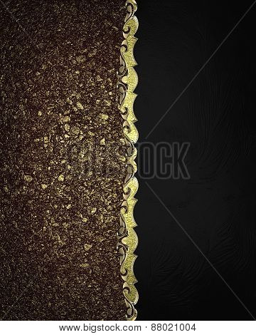 Element For Design. Template For Design. Black Texture With Gold Sand