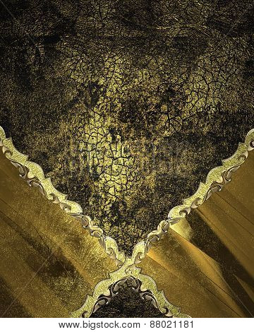 Element For Design. Template For Design. Black And Gold Background With Abstract Patterns