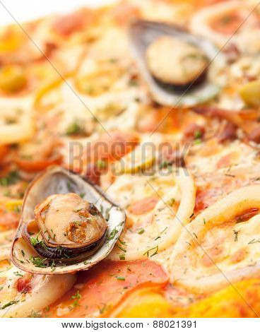 Seafood Pizza with Mozzarella, Various Seafood, Tomato and Shellfish
