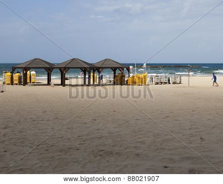 Geula Beach In October. Tel Aviv, Israel
