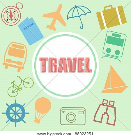 Colorful Retro Set Of Travel