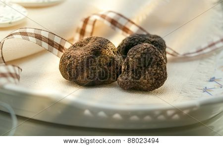 Mushrooms Black Truffle On A Plate