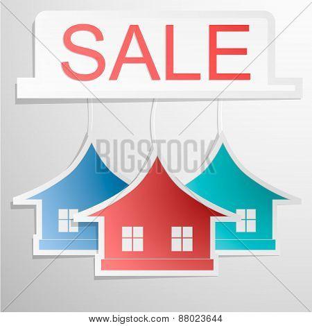 Paper colrfull home design - house card. Sale banner