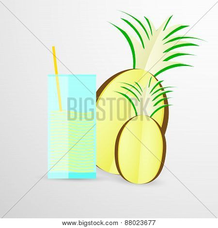 pineapple juice vector illustration isolated on white background