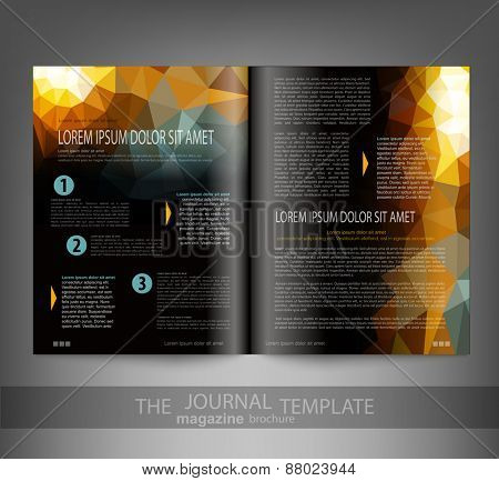 vector template print edition of the journal with an abstract pattern of triangles
