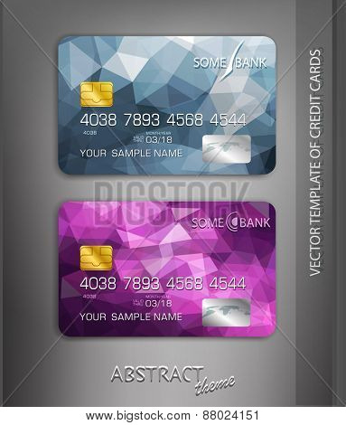 vector templates credit cards with abstract pattern