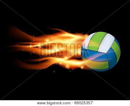 Volleyball On Fire Illustration
