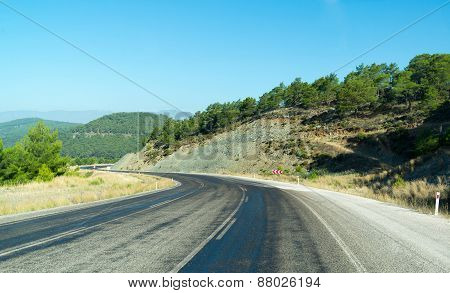 Anatolia Landscape. Speedway Along Of The Taurus Mountains. Turkey