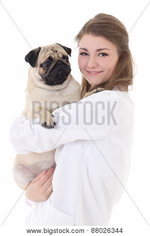 Happy Young Woman Vet Holding Pug Dog Isolated On White
