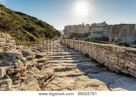 Steps Leading Down Towards Bonifacio Citadel In Corsica