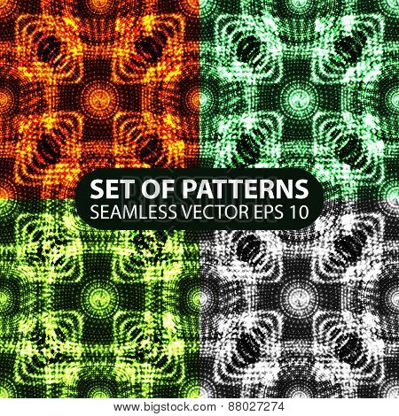 set of 4 seamless glowing ethnic patterns