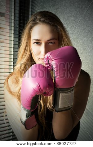 Young Blonde Boxing Woman