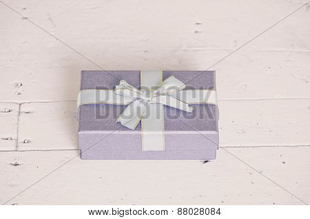 Lavender Gift Box On Wooden Table, Vintage Picture Style.
