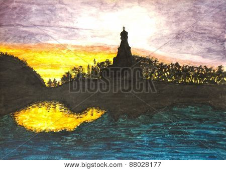 Church On Sunset, Painting
