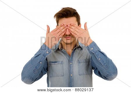 Man covering his face, isolated on white background