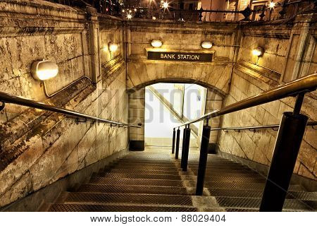 Entrance to an old station subway at night