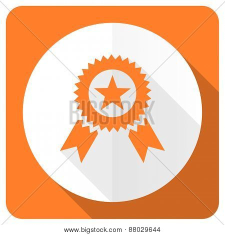 award orange flat icon prize sign
