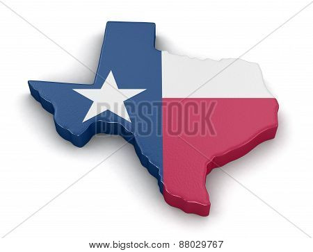 Map of Texas state with flag