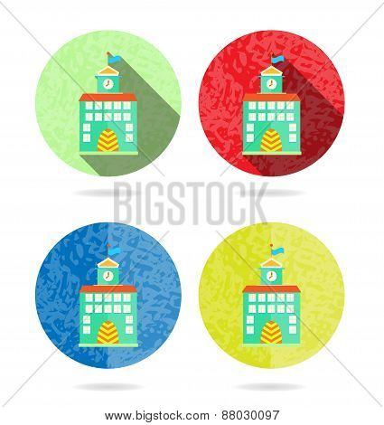 Set, collection, group of four colorful round, isolated, flat, buttons, icons, signs, labels, sticke