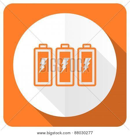battery orange flat icon power sign