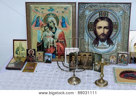 ROTAVA, CZECH REPUBLIC - FEBRUARY 22, 2013: Russian orthodox icons in a cemetery chapel in Rotava, Czech Republic.