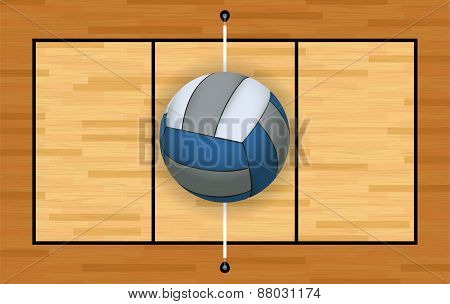 Volleyball And Court Background Illustration