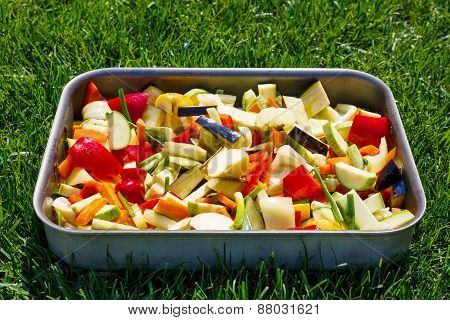 Tray With Mixed Vegetables On Background Of Grass