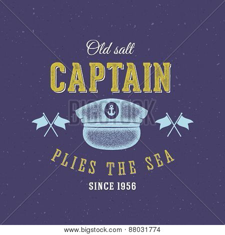 Retro Sea Captain Vector Label or Logo Template