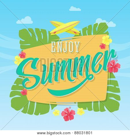 Enjoy Summer Abstract Vector Card, Poster or Background with Banner