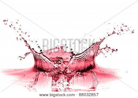 red wine splash isolated on white