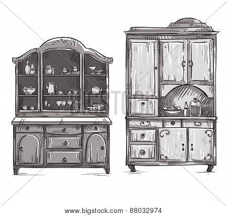 Kitchen cupboards, hand drawn