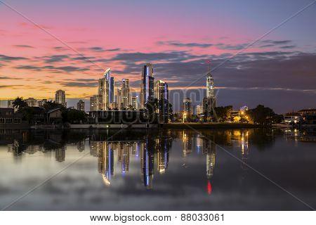 Gold Coast Australia colourful sunrise cityscape reflection