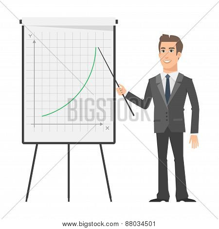 Businessman indicates on flip chart and smiling