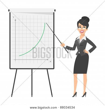 Businesswoman indicates on flip chart and smiling