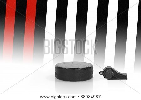 Hockey Puck And Referee Whistle