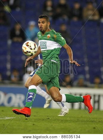 BARCELONA - APRIL, 6: Jonathas de Jesus of Elche CF during a Spanish League match against RCD Espanyol at the Estadi Cornella on April 6, 2015 in Barcelona, Spain