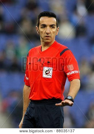 BARCELONA - APRIL, 6: Spanish referee Perez Montero during a Spanish League match between Espanyol and Elche CF at the Estadi Cornella on April 6, 2015 in Barcelona, Spain