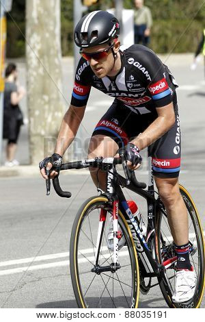 BARCELONA - MARCH, 29: Johannes Frohlinger of Giant-Alpecin Team rides during the Tour of Catalonia cycling race through the streets of Monjuich mountain in Barcelona on March 29, 2015