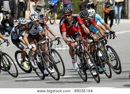 BARCELONA - MARCH, 29: Ben Gastauer (L) of Ag2r and Ben Hermans (R) of BMC Racing rides during the Tour of Catalonia cycling race through the streets of Monjuich mountain in Barcelona on March 29, 2015