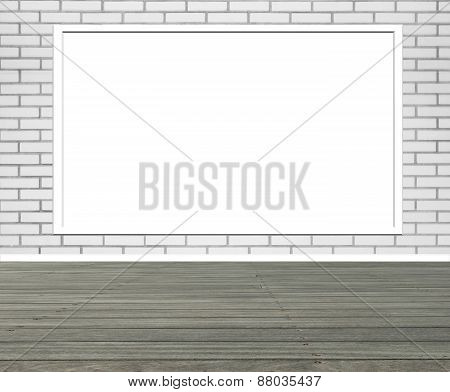 Street scene with Red brick wall and  vertical empty billboard