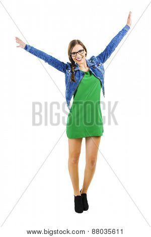 Beautiful happy woman smiling with arms open, isolated over a white background