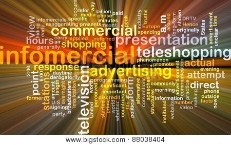 Background text pattern concept wordcloud illustration of infomercial glowing light